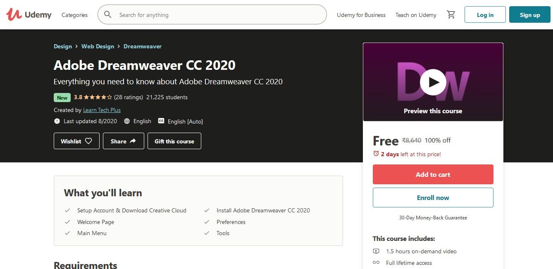 Adobe Dreamweaver CC 2020 Online Course
