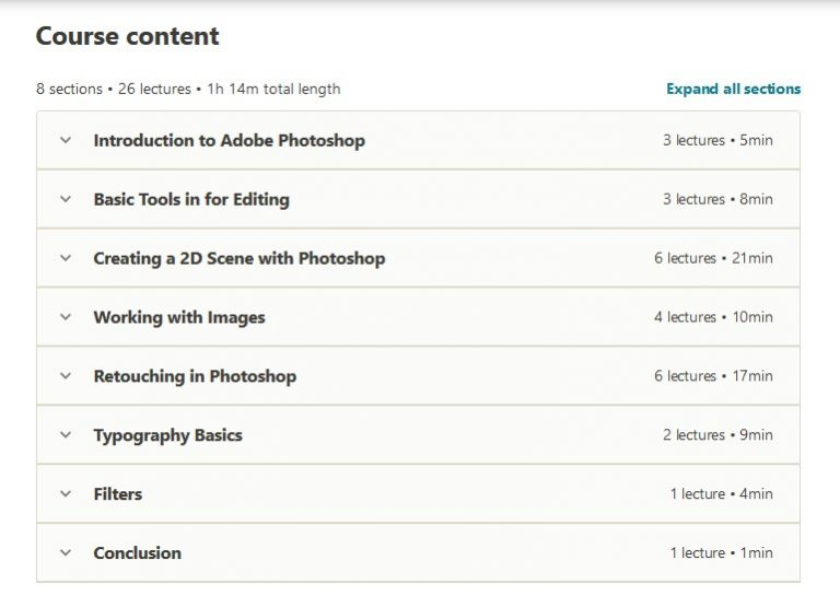 Adobe Photoshop Course The Complete Guide (Step by Step) Online Course content