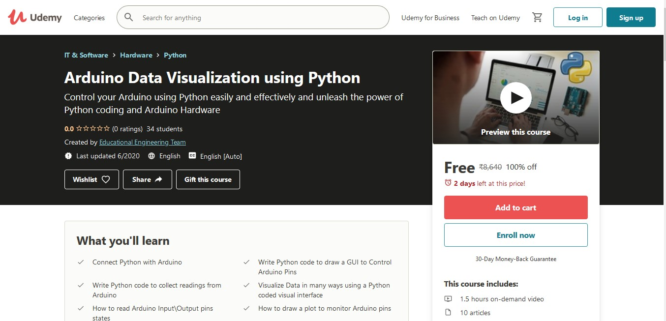 Arduino Data Visualization using Python