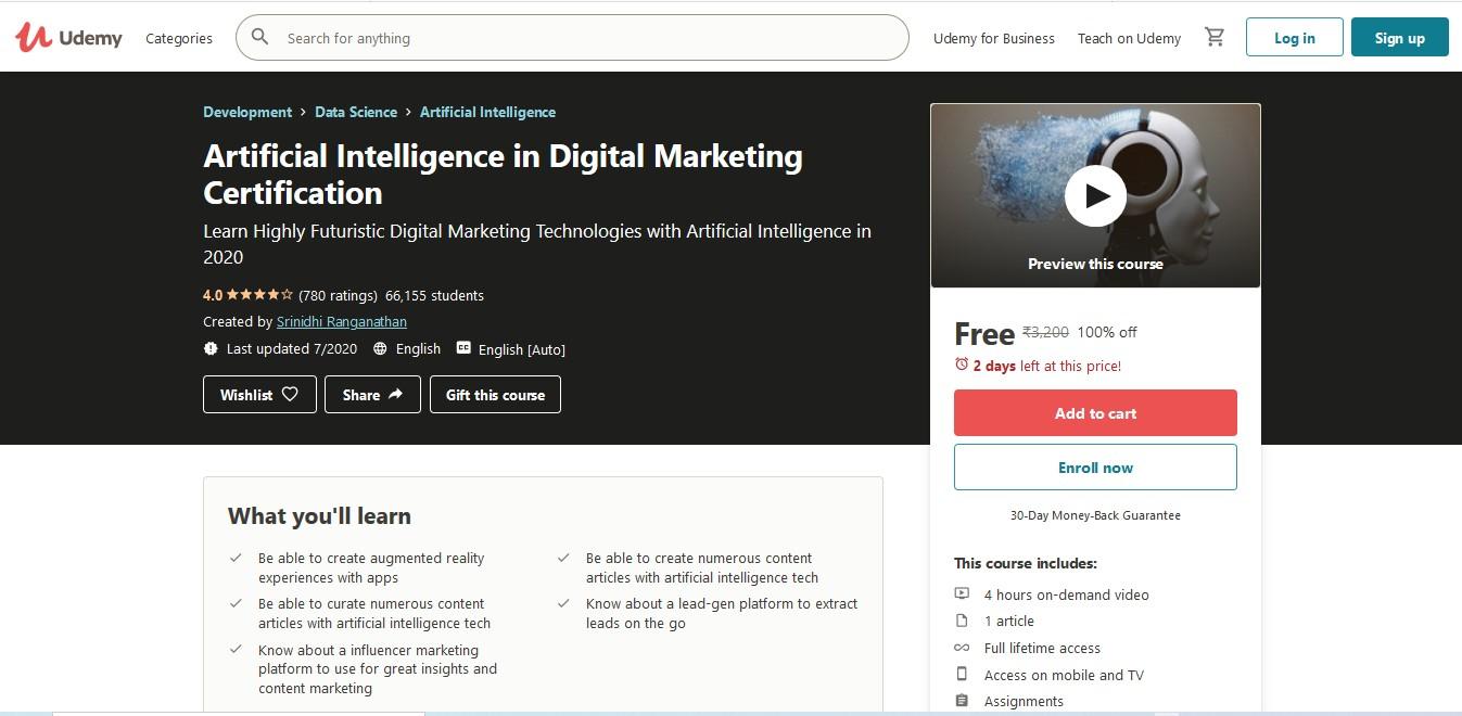 Artificial Intelligence in Digital Marketing Certification