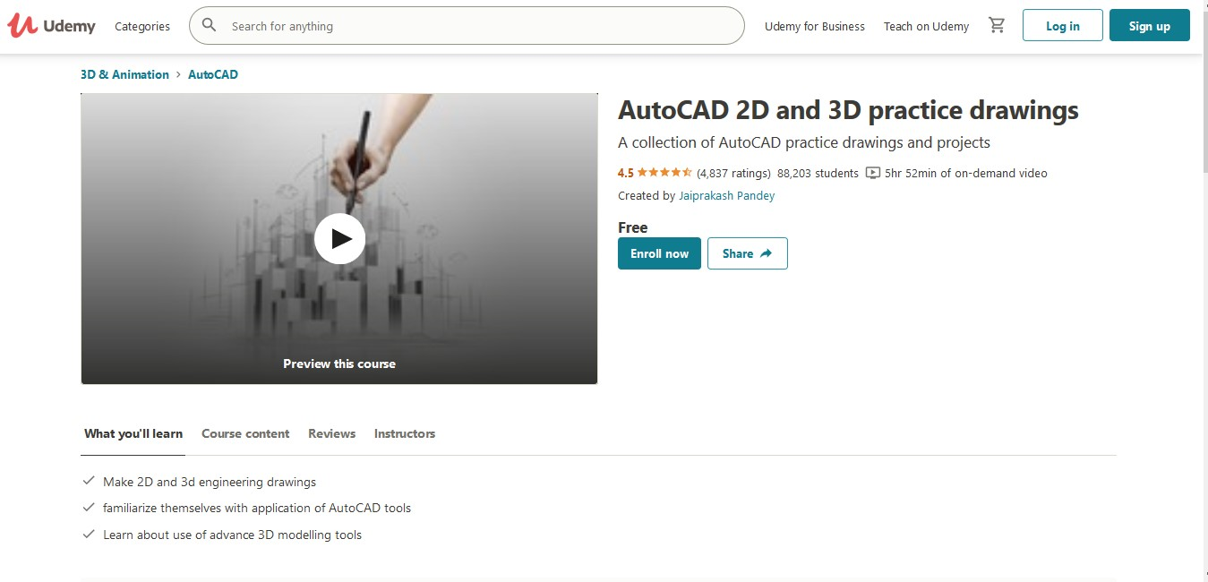AutoCAD 2D and 3D practice drawings
