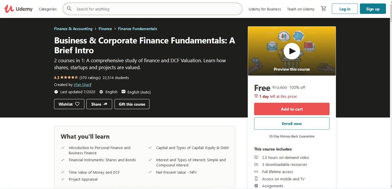 Business & Corporate Finance Fundamentals A Brief Intro