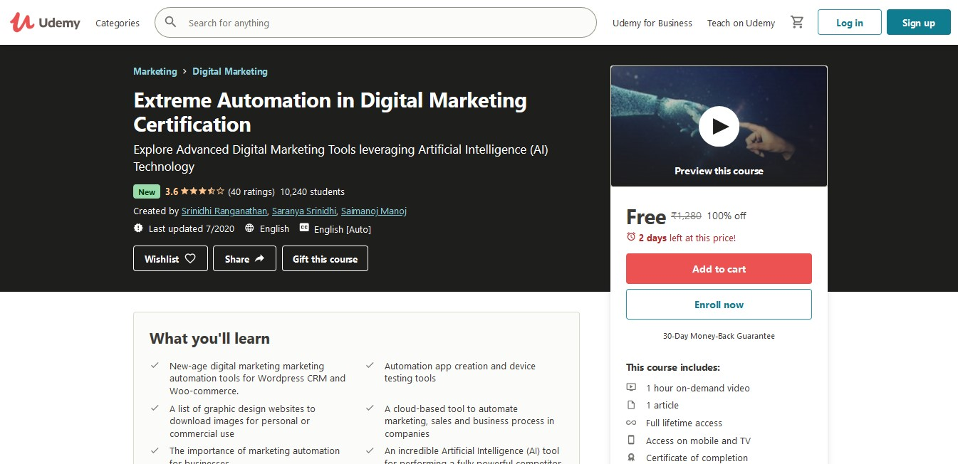 Extreme Automation in Digital Marketing Certification