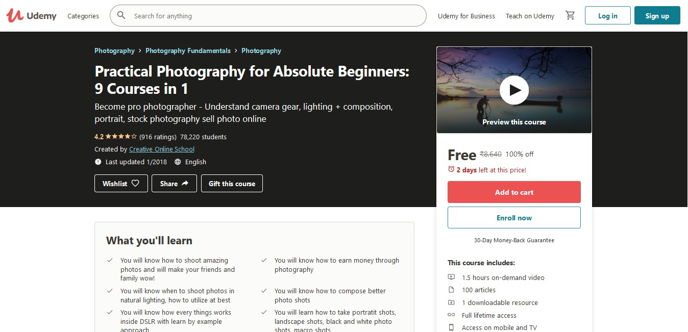 Practical Photography for Absolute Beginners 9 Courses in 1