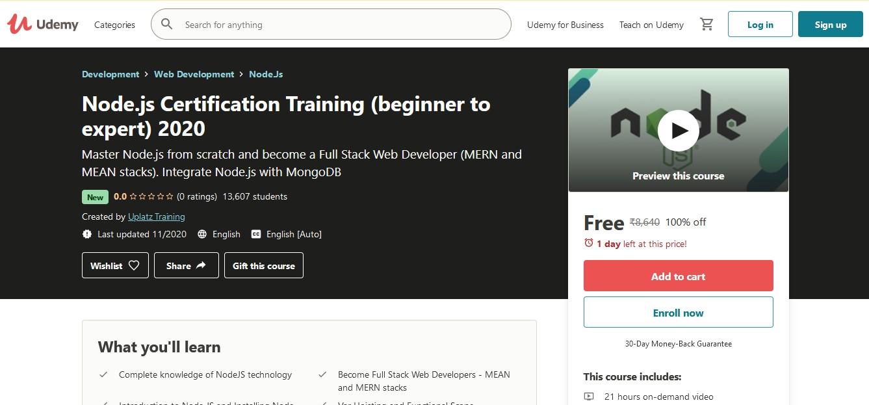 Node JS Certification Course For Beginners 2020